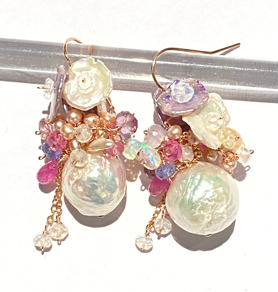 Spring Baroque Pearl Cluster Earrings Rose Gold Colorful Gems Keishi Pearls