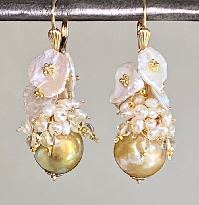 Pond Slime Baroque Pearl Cluster Earrings Gold Pearls