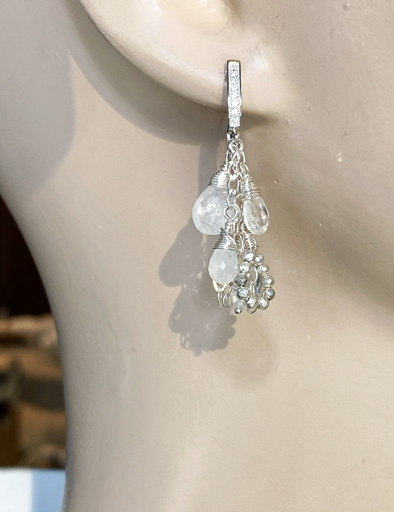 Crystal Quartz Dangle Earrings Sterling Silver Moonstone