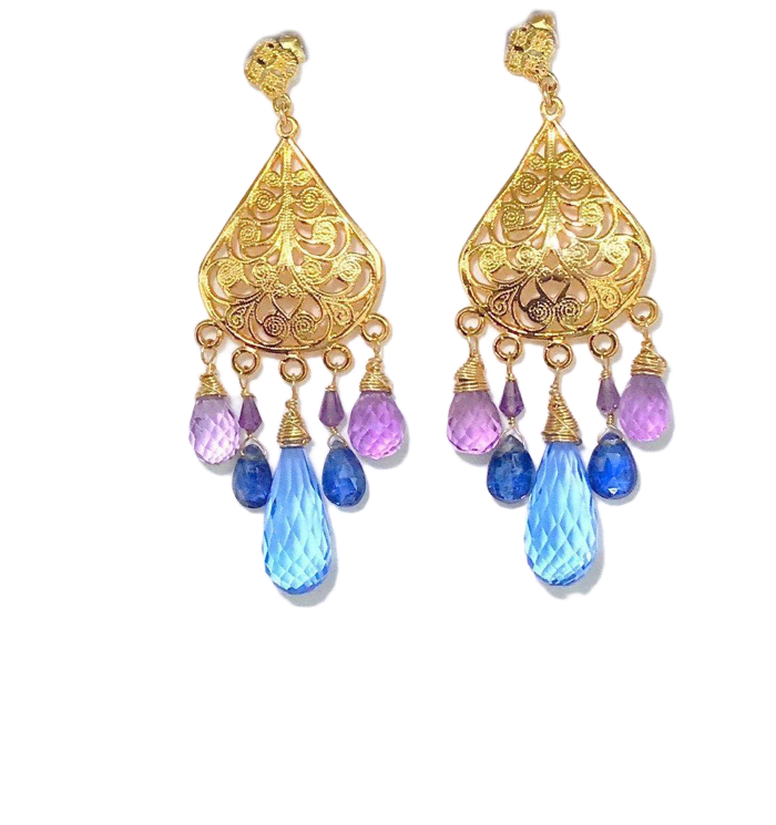 Wire Wrapped Multicolor Periwinkle Chandelier Earrings