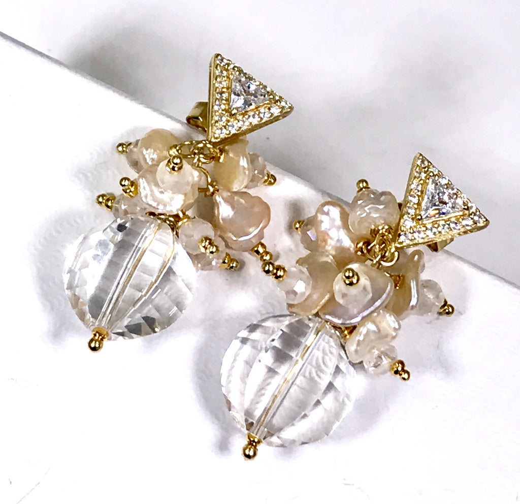 Clear Crystal Quartz Earrings Keishi Pearl Cluster Gold Post - doolittlejewelry