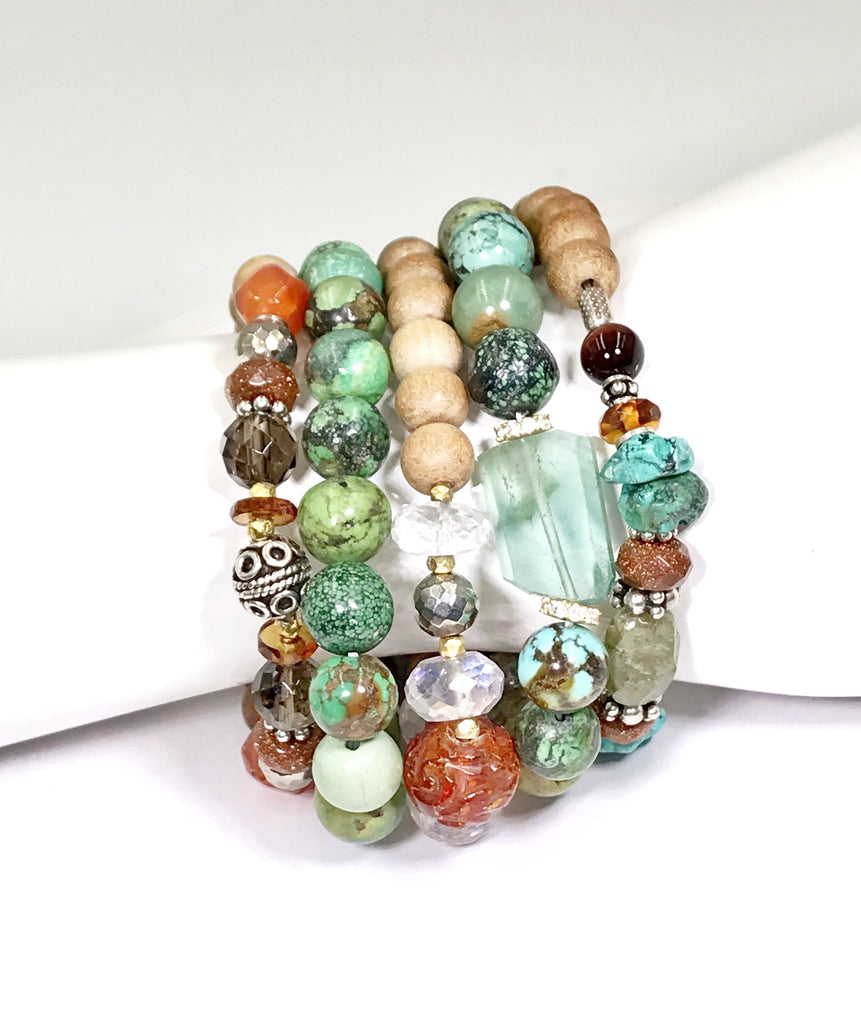 Rustic Turquoise Stack Bracelet Set of 2 with Fluorite