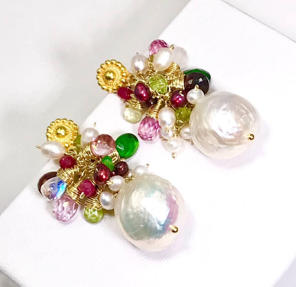RESERVED - Baroque Pearl Earrings Red Pink Green Gemstone Clusters Gold Filled - doolittlejewelry
