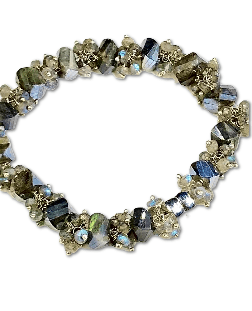 Labradorite Bangle Style Sterling Silver and Cluster Bracelet - doolittlejewelry