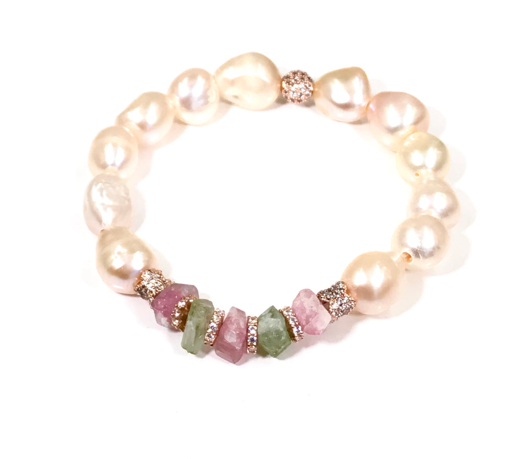 Blush Pearl Bracelet, Pink Green Tourmaline Raw Crystals, Rose Gold Pave CZ - doolittlejewelry