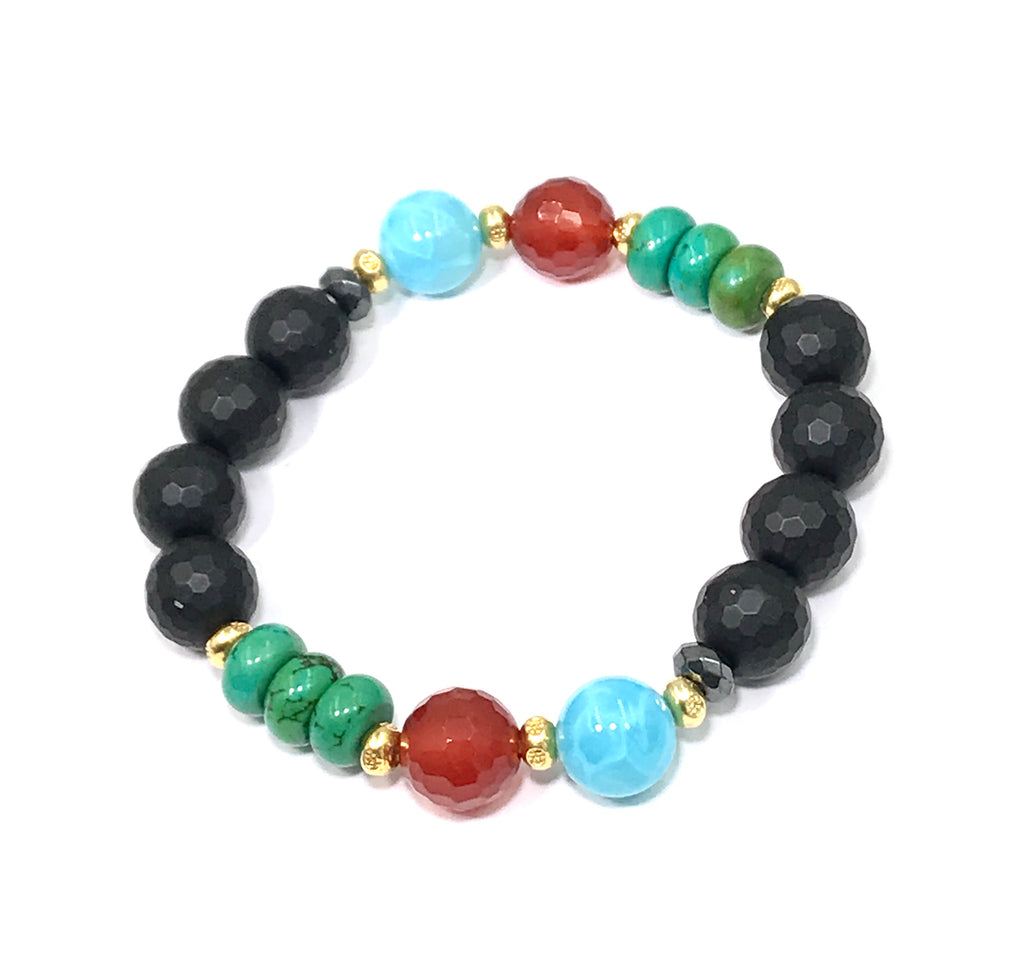Turquoise Carnelian Onyx Stretch Stacking Bracelet Set of 4 - doolittlejewelry