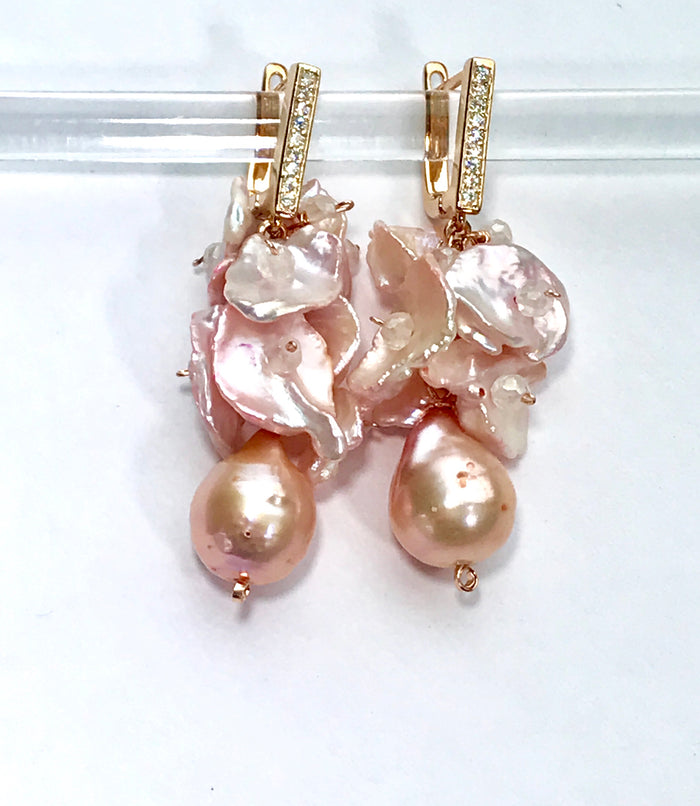 Blush Keishi Pearl Cluster Wedding Earrings Rose Gold - doolittlejewelry