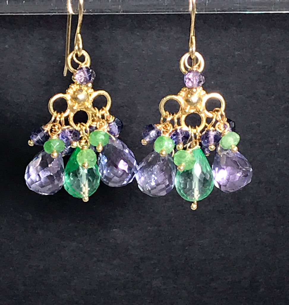 Green Blue Chandelier Earrings Gold Tsavorite Green Topaz - doolittlejewelry