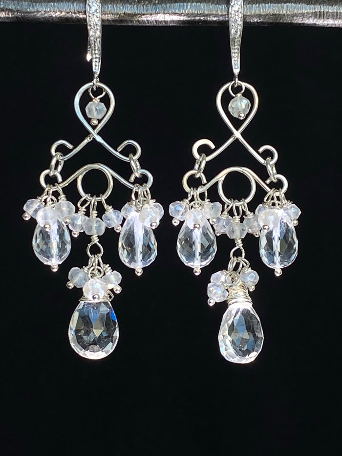 Sterling Silver Bridal Wedding Chandelier Earrings