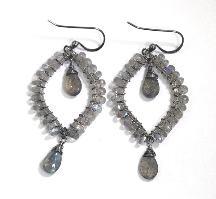 Labradorite Hoop Earrings Oxidized Silver