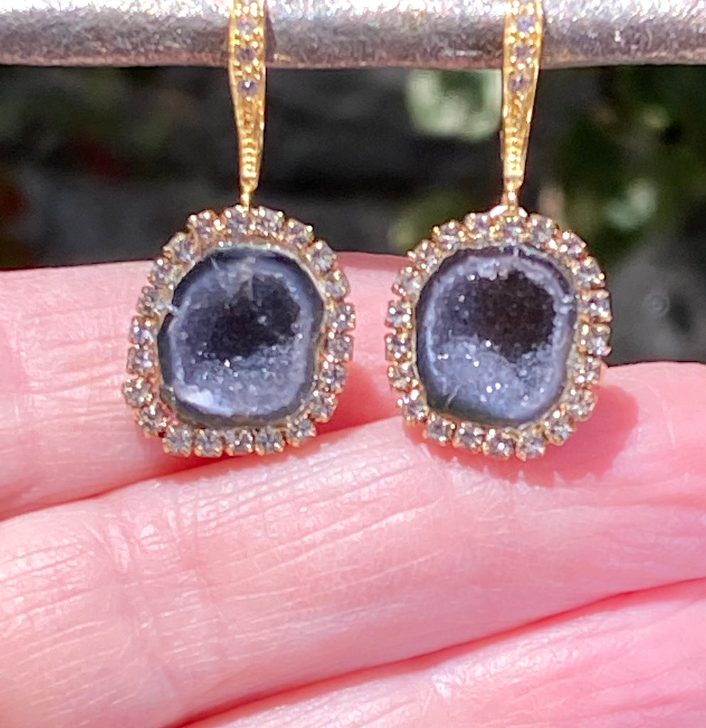 Black Tabasco Geode Dangle Earrings