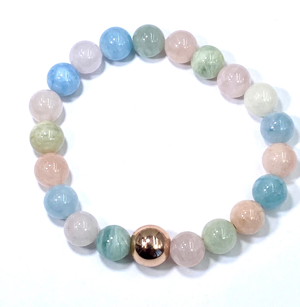 Morganite Aquamarine Pastel Gemstone Rose Gold Stretch Stacking Bracelet - doolittlejewelry