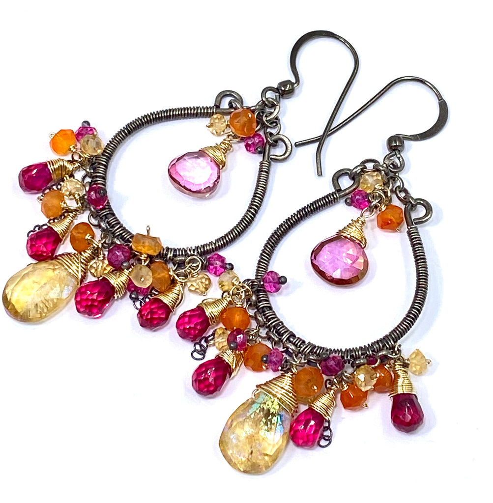 Multi-color Gemstone Hoop Earrings Mystic Citrine Hot Pink Quartz Oxidized Silver - doolittlejewelry