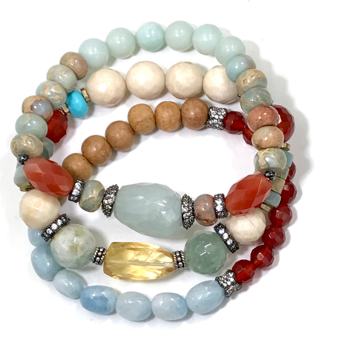 Gemstone Stack Bracelet Stretch Set of 3 Aquamarine Carnelian - doolittlejewelry
