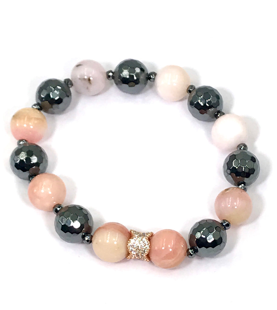 Pink Peruvian Opal and Black Hematite Rose Gold Pave CZ Stack Bracelet - doolittlejewelry