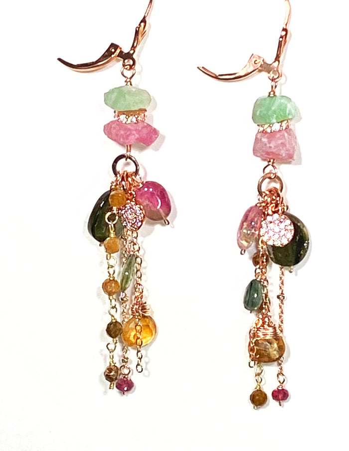 Tourmaline Dangle Earrings Rose Gold Pink Green Watermelon