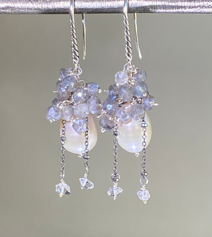 Ivory Baroque Pearl and Labradorite Cluster Earrings Sterling Silver