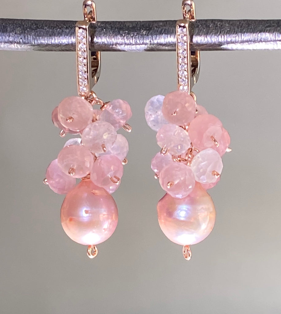 Pink Pearl Rose Quartz Cluster Earrings Rose Gold