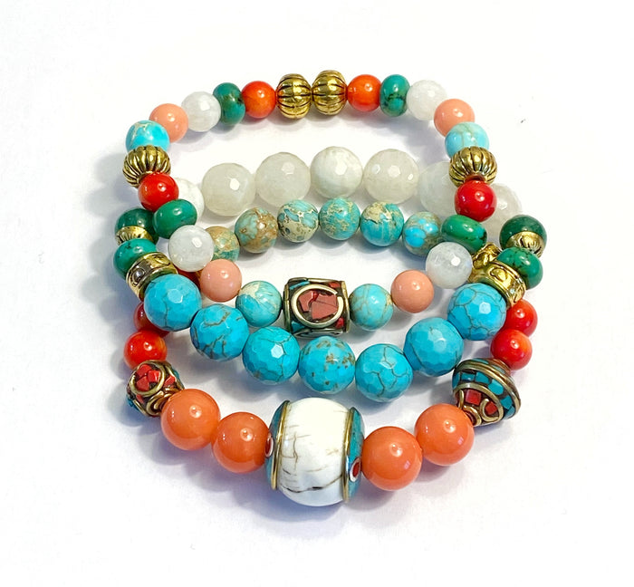 Colorful Beaded Stretch Bracelets Stack Set of 3 Tibetan Beads