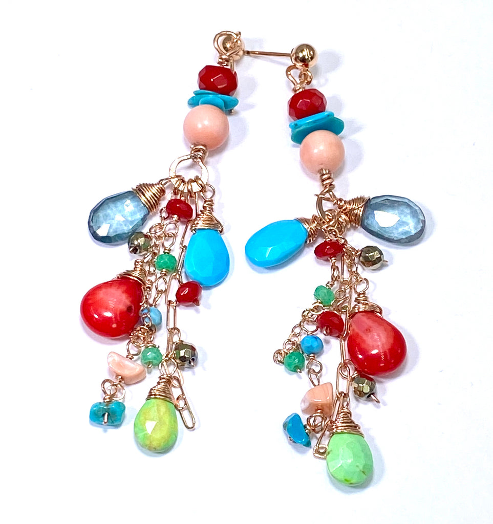 Turquoise Red Coral Rose Gold Long Boho Dangle Earrings - doolittlejewelry