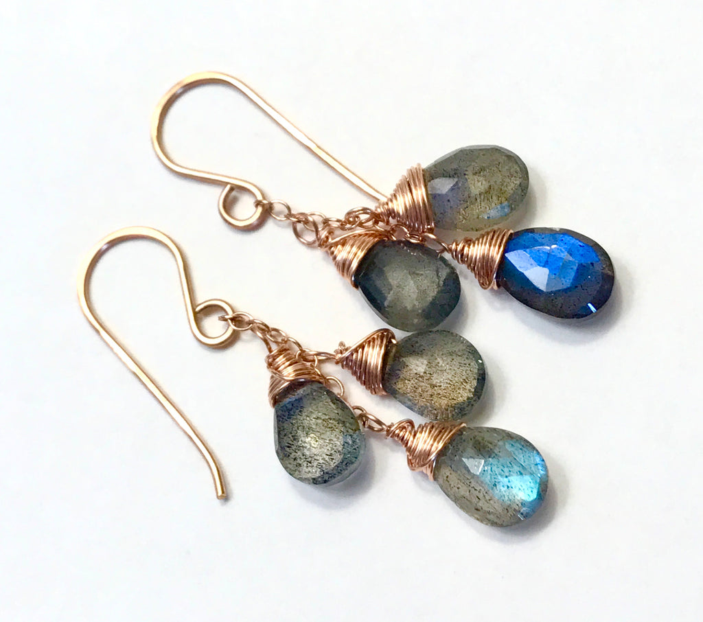 Rose Gold Labradorite Dangle Earrings - doolittlejewelry