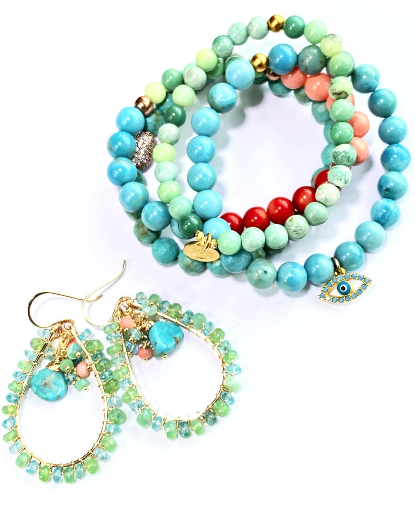Turquoise Blue Beaded Stretch Stacking Bracelet Gold Evil Eye Charm Accents
