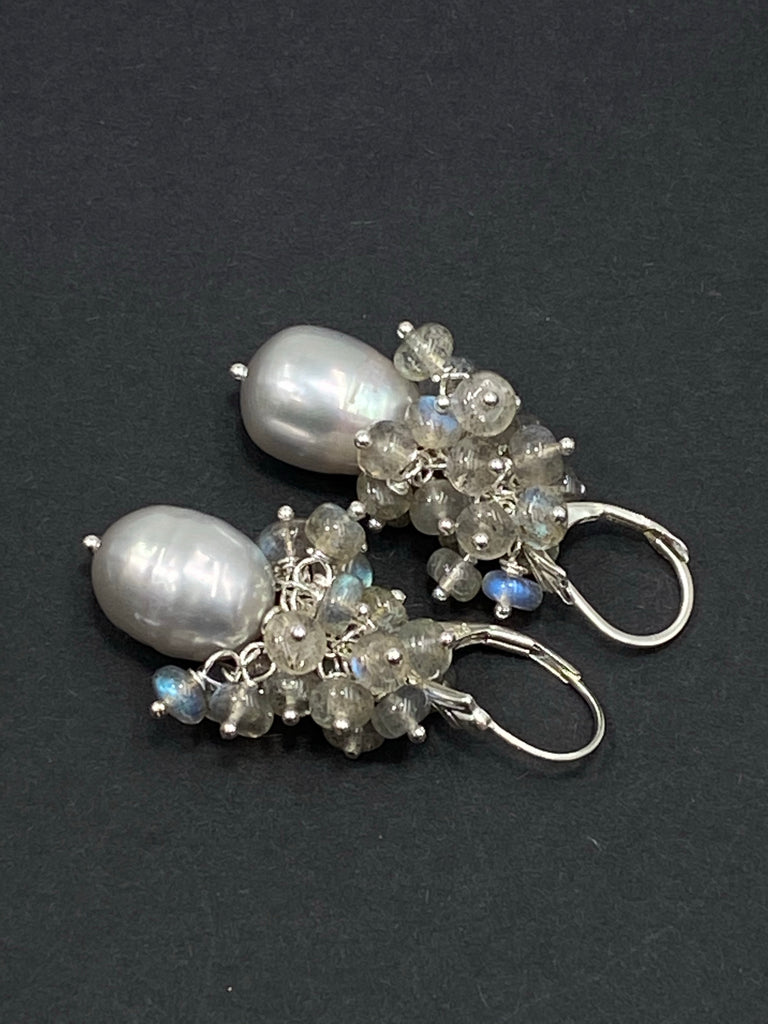 Silver Grey Pearl Earrings Sterling Silver with AAA Labradorite Gemstone Clusters - doolittlejewelry