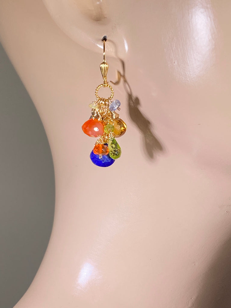 Colorful Gemstone Gold Dangle Earrings Citrine Blue Lapis Carnelian - doolittlejewelry