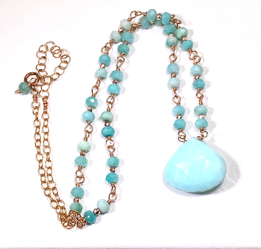 Blue Peruvian Opal, Amazonite, Rose Gold Wire Wrapped Pendant Necklace - doolittlejewelry
