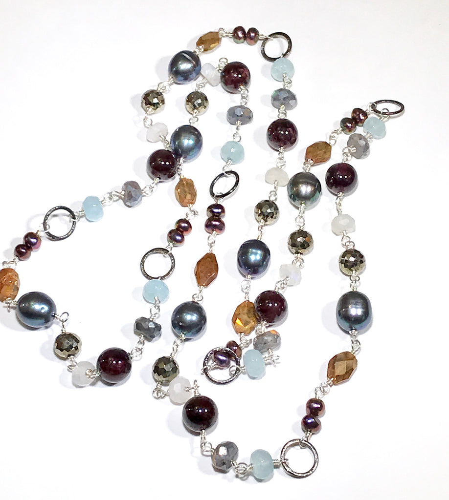 Long Pearl & Gemstone Mixed Metal Necklace Aquamarine Labradorite Sterling Silver - doolittlejewelry