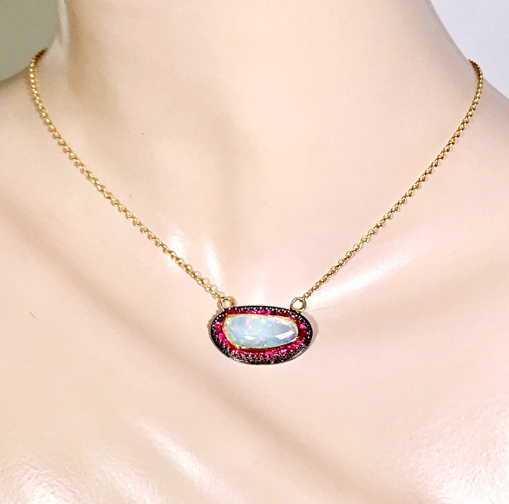 Opal and Pink Spinel Pendant with 22 kt Gold and Oxidized Sterling Silver
