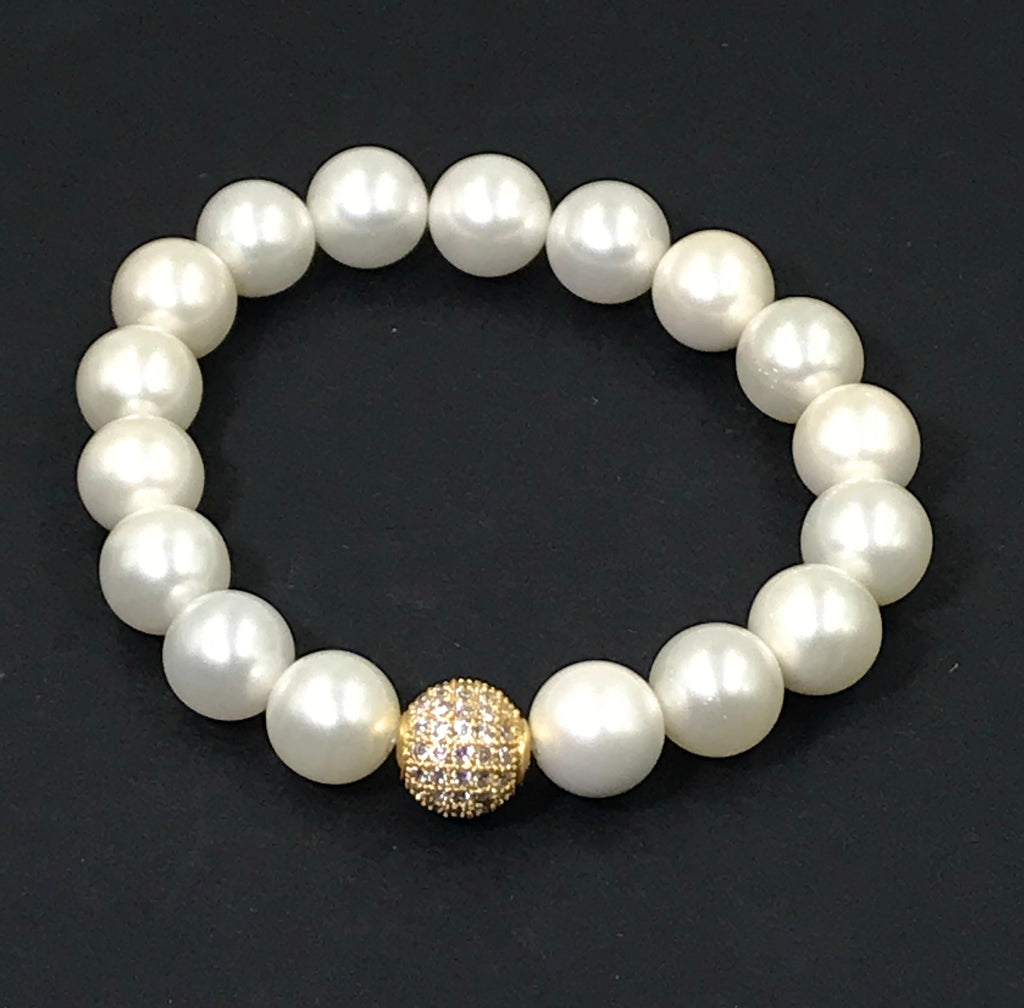 White Pearl Stretch Stacking Bracelet with Gold Pave CZ Bead - doolittlejewelry