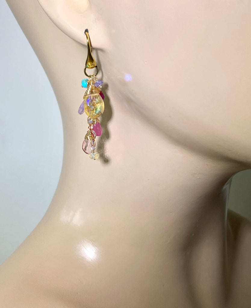 Colorful Gemstone Long Dangle Earrings Gold Mystic Citrine Lavender Opal Pink Sapphire - doolittlejewelry