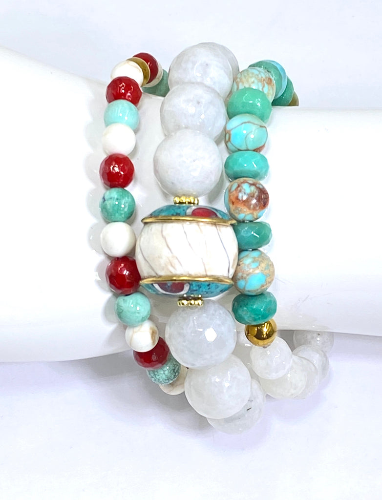 Set of 3 Stretch Stacking Bracelet White, Green, Turquoise, Red Gemstones - doolittlejewelry