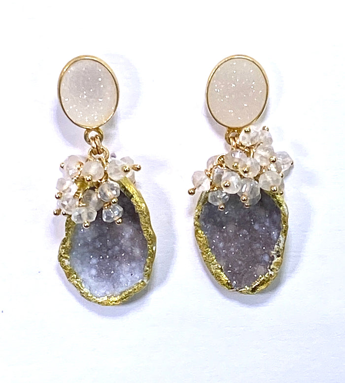 Tabasco Geode 24 kt Gold Leaf Cluster Earrings Ivory Druzy Post - doolittlejewelry