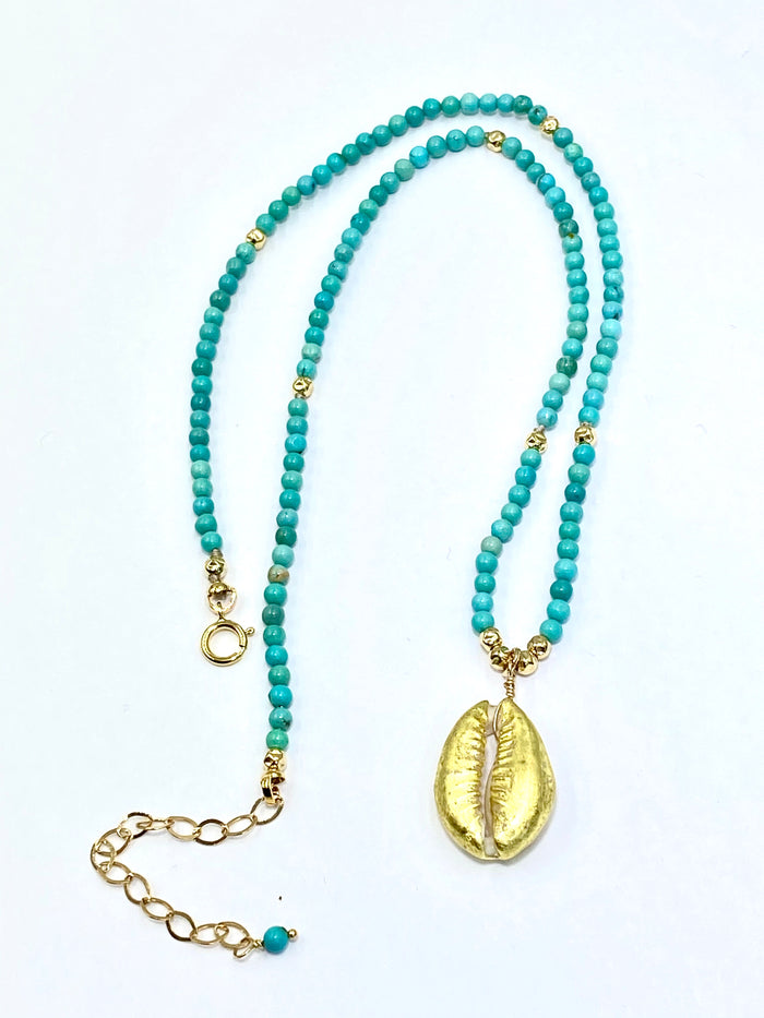 Dainty Turquoise Layering Necklace with Cowry Shell 24 kt Gold - doolittlejewelry