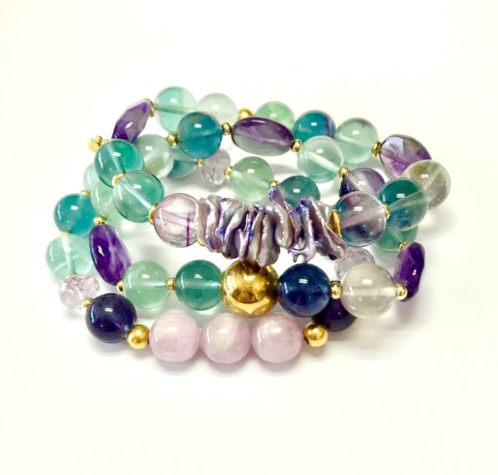 Fluorite Gemstone Stretch Stack Bracelet Set of 3 - doolittlejewelry