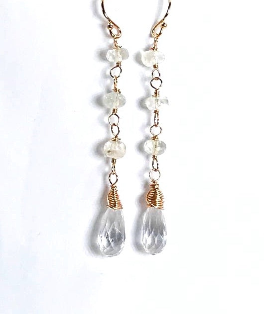 Rose Gold Clear Crystal Quartz Earrings