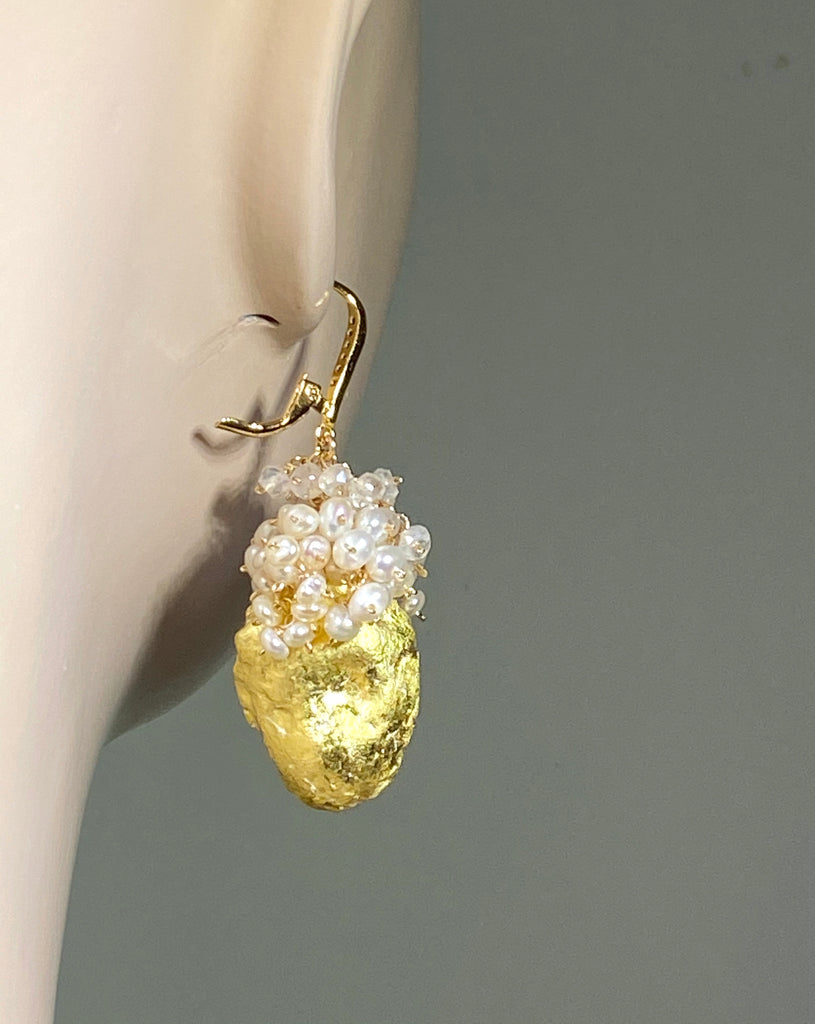 Ivory Beige Tabasco Geode Pearl Cluster 24 kt Gold Leaf Earrings - doolittlejewelry