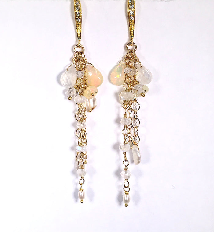 Dainty Opal Dangle Earrings Moonstone Gold & Silver Bridal Earrings - doolittlejewelry