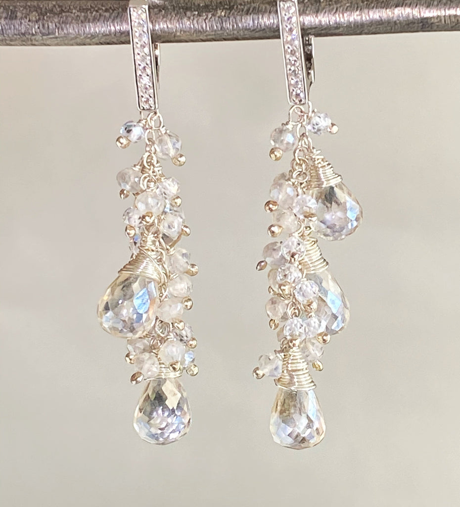 Sterling Silver and Mystic Clear Crystal Quartz Sparkle Wedding Earrings