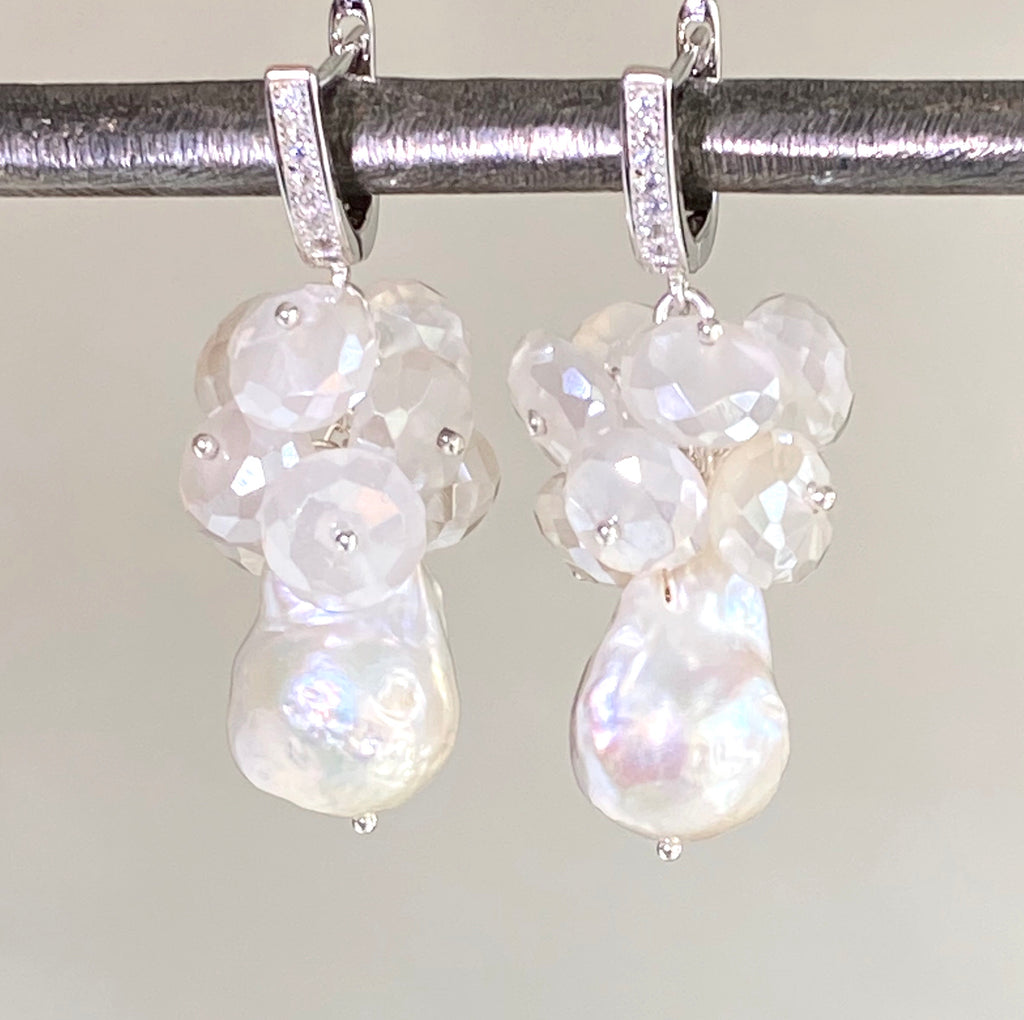 Baroque Pearl and Mystic Moonstone Sterling Silver Bridal Gemstone Cluster Earrings