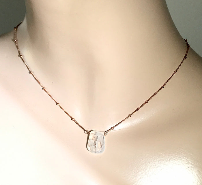 Moonstone Slice Rose Gold Dainty Pendant Necklace - doolittlejewelry