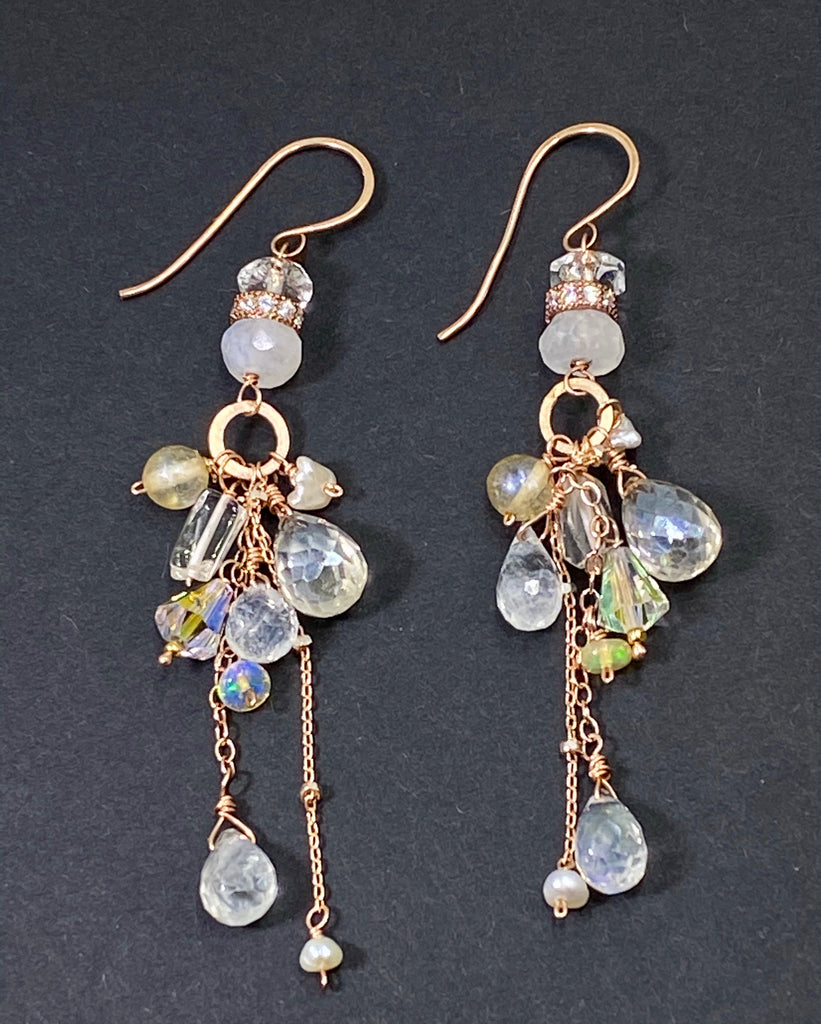 Rose Gold Long Boho Crystal Quartz & Moonstone Dangle Bridal Earrings