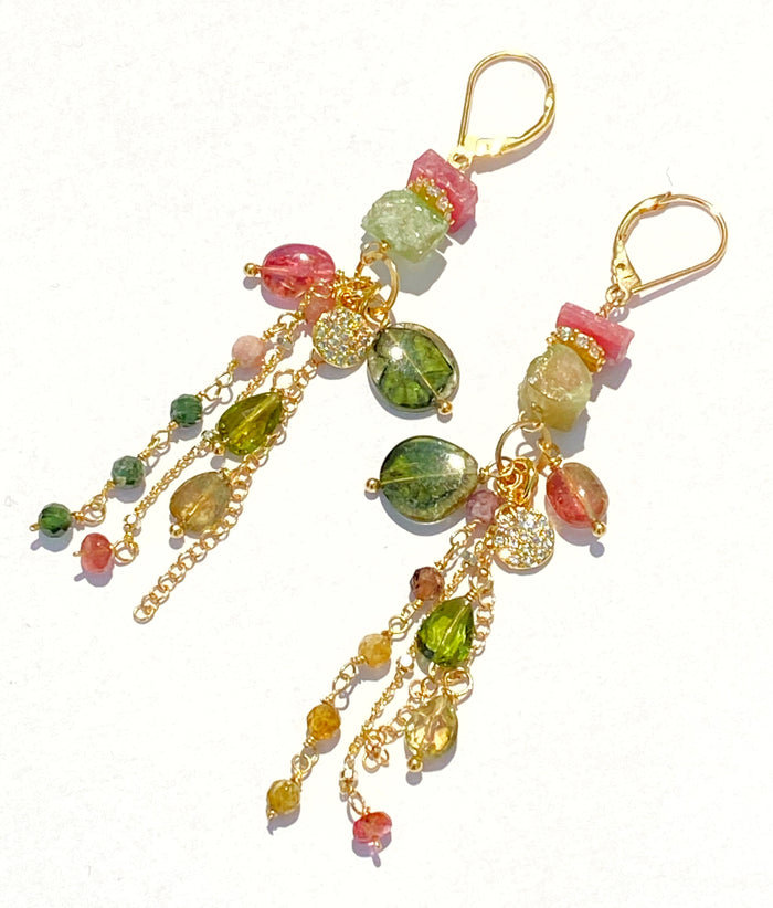 Watermelon Tourmaline Long Gold Boho Dangle Earrings