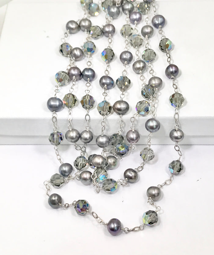 Long Grey Pearl Swarovski Crystal Sautoir Necklace - doolittlejewelry