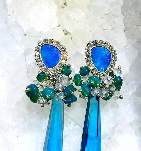 Australian Opal Diamond Pave Look Earrings - doolittlejewelry
