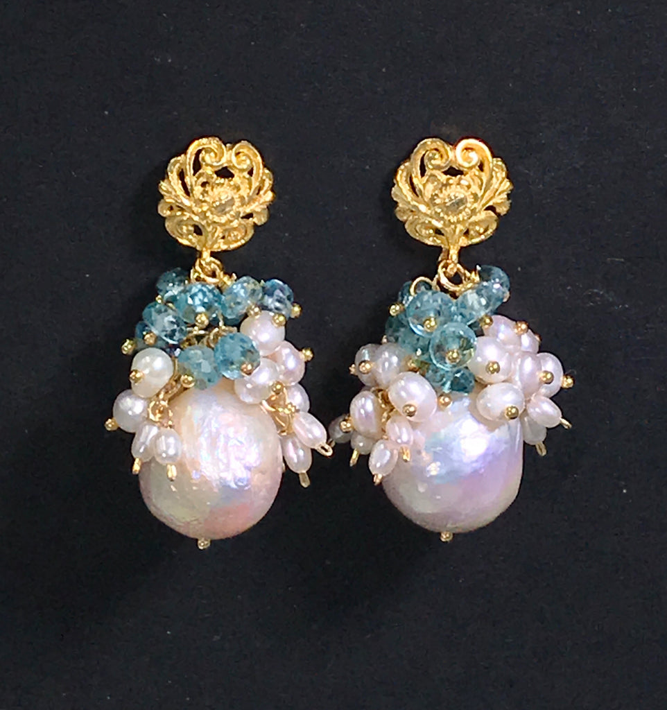 Blue Zircon Pearl Cluster Earrings Gold Post - doolittlejewelry