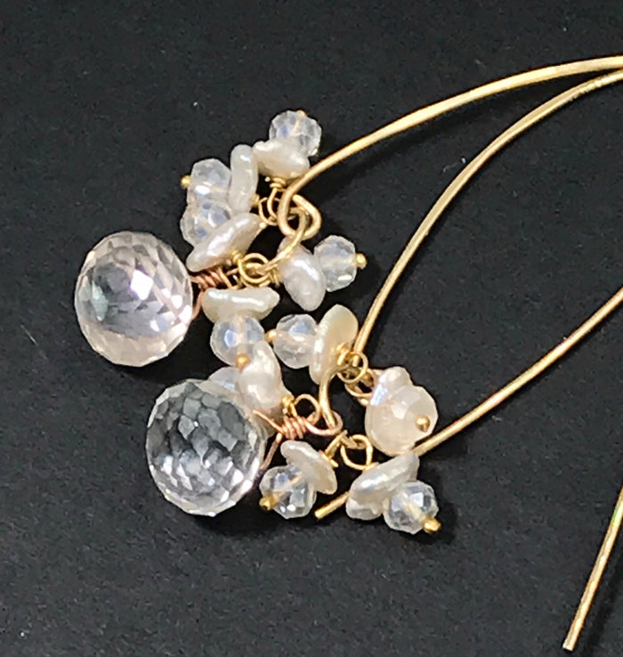 Mystic Quartz Pearl Long Sparkly Gold Earrings - doolittlejewelry