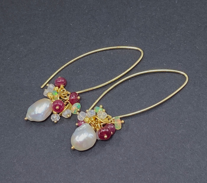 Opal Red Spinel Cluster Pearl Gold Dangle Earring